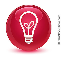 Bulb icon glassy pink round button