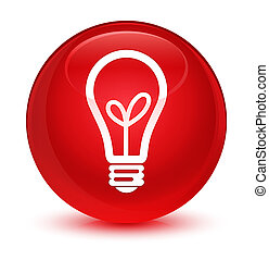 Bulb icon glassy red round button
