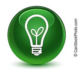 Bulb icon glassy soft green round button