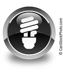 Bulb icon glossy black round button
