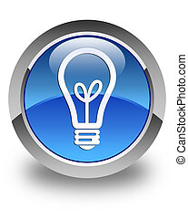 Bulb icon glossy blue round button