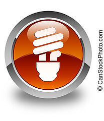 Bulb icon glossy brown round button