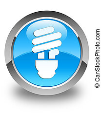 Bulb icon glossy cyan blue round button