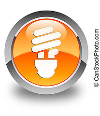 Bulb icon glossy orange round button 2