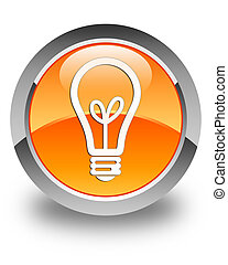 Bulb icon glossy orange round button