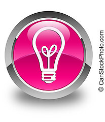 Bulb icon glossy pink round button