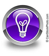 Bulb icon glossy purple round button