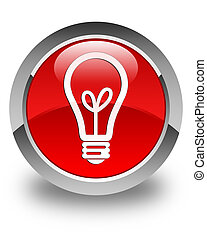 Bulb icon glossy red round button