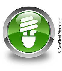 Bulb icon glossy soft green round button