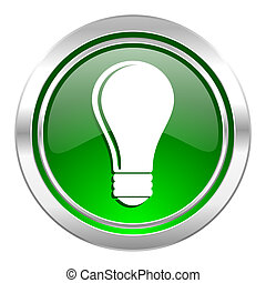 bulb icon, green button, idea sign