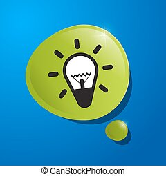 Bulb Icon in Green Bubble on Blue Background