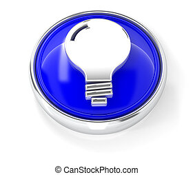 Bulb icon on glossy blue round button