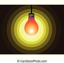 bulb icon on yellow light effect