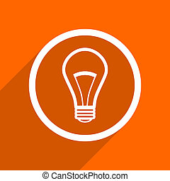 bulb icon. Orange flat button. Web and mobile app design illustration