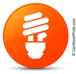 Bulb icon orange round button