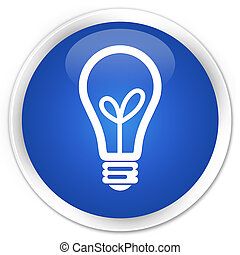 Bulb icon premium blue round button