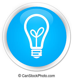 Bulb icon premium cyan blue round button