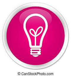 Bulb icon premium pink round button