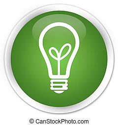 Bulb icon premium soft green round button