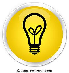 Bulb icon premium yellow round button