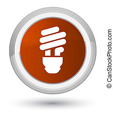 Bulb icon prime brown round button