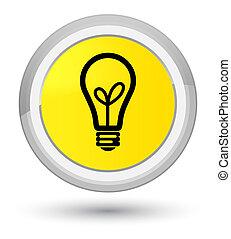 Bulb icon prime yellow round button