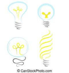 Bulb Icon Set Isolated on White Background