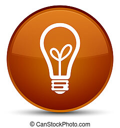Bulb icon special brown round button
