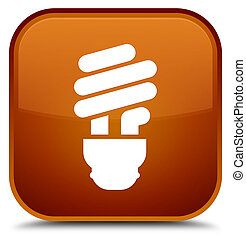Bulb icon special brown square button