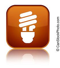 Bulb icon special brown square button