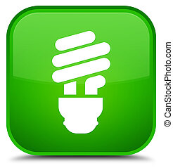 Bulb icon special green square button