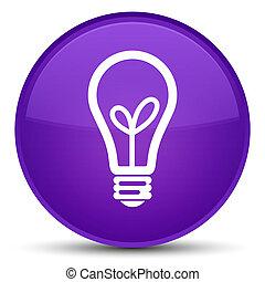 Bulb icon special purple round button