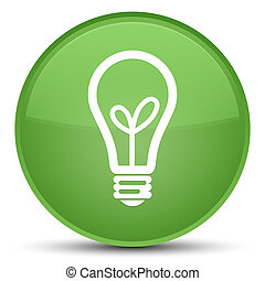 Bulb icon special soft green round button