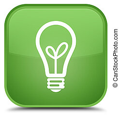 Bulb icon special soft green square button