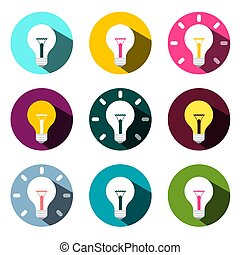 Bulb Icons Set Isolated on White Background. Flat Design Colorful Vector Lightbulbs in Circles.