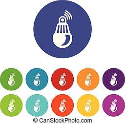 Bulb icons set vector color