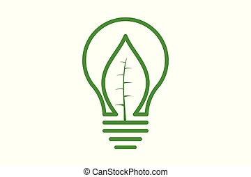 bulb idea and green leaf logo design