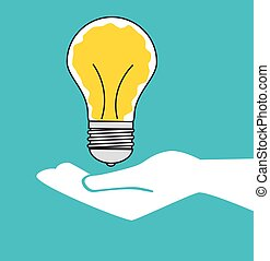 bulb idea hand creative isolated design