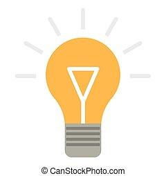 Bulb idea icon, flat style