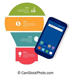 bulb idea info-graphic business process full color of smart-phone gadget communication technology mobile device