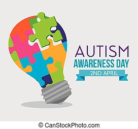 bulb idea puzzles to autism day vector illustration