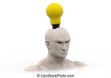 (bulb, ideas., głowa, conc, twórczy