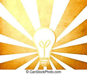 Bulb illustration with vintage starburst background