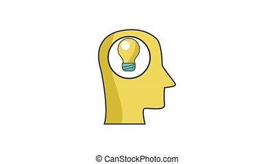 Bulb inside human head HD definition