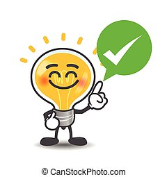 Bulb lamp cartoon isolated say right with green speech bubble and check mark on the white background vector illustration