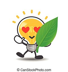 Bulb lamp cartoon isolated showing green leaf eco concept on the white background vector illustration 002