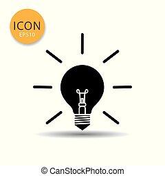Bulb lamp icon on white background.