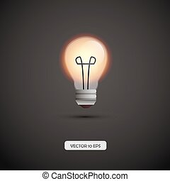 Bulb lamp. Vector illustration. Yellow lamp light.