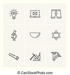 Bulb, laptop, email , shorts . microscope , bowl , star , saw , axe , screw , 9 eps icons set vector