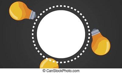 Bulb light and big ideas HD animation - Blank round frame...